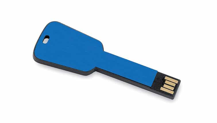 Gadget pendrive in alluminio a forma di chiave colore blu